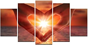 Biuteawal- 5 Panel Romantic Love Painting Wall Art for Couple Gifts Beautiful Beach Sunrise with Hands Heart Picture Canvas Prints Modern Home Living Room Bedroom Bathroom Decoration