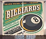 vintage advertisement - Ambesonne Vintage Decor Curtains, Advertisement with Billiard Balls Form Grand Prize Quote Hobby Game Play Sports, Living Room Bedroom Window Drapes 2 Panel Set, 108W X 84L Inches, Multi