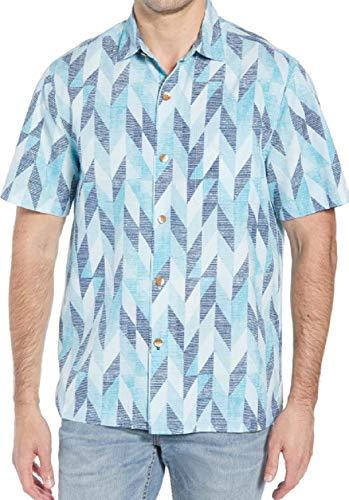 Tommy Bahama Geo Celeste Silk Blend Camp Shirt (Color: Riviera Azure, Size L)