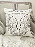 Pillow Cover Angel Wings 16x16 Christian Scripture Psalm 91:11 Angels Protect canvas throw pillow Bible prayer gift