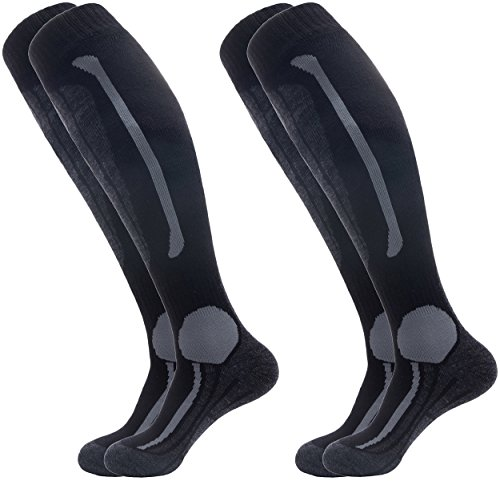 Wantdo Men's Ski Socks Light Cushion Seamless With Moisture Control Two Pairs(Black Grey,US 10-13) (Sock Ski Heavyweight)