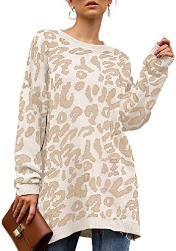 NSQTBA Leopard Print Sweaters for Women Crew Neck Oversized Fashion Tunic Tops White S