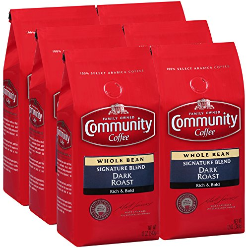 Select Whole Bean - Community Coffee Signature Blend Dark Roast Premium Ground 12 Oz Bag (6 Pack), Full Body Rich Bold Taste, 100% Select Arabica Coffee Beans