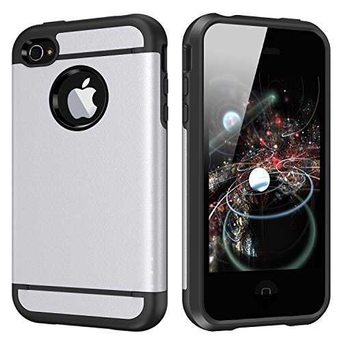 CHTech 5432198 iPhone 4 Case Dual Layer Hybrid Slim Armor Case with Solid PC and Shockproof TPU for iPhone 4/ 4S (Silver) (Iphone 4 Hybrid Armor Case)
