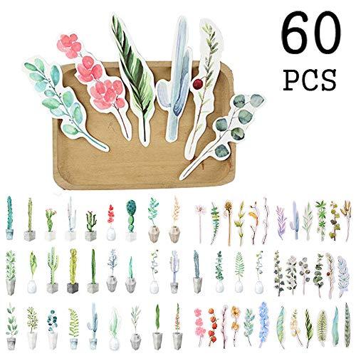 (Botanical Garden Flower Leaf Bookmarks for Kids Children Boys Girls, Novelty Literary Art Fresh Book Marker for Student(60 Pack) )