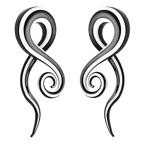 Acrylic Spiral Vortex Ear Plugs Snail 2pc 5mm 6mm 8mm 10mm 12mm Body Piercing Jewelry (8mm black white)