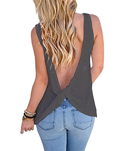 womens backless tank top - 1