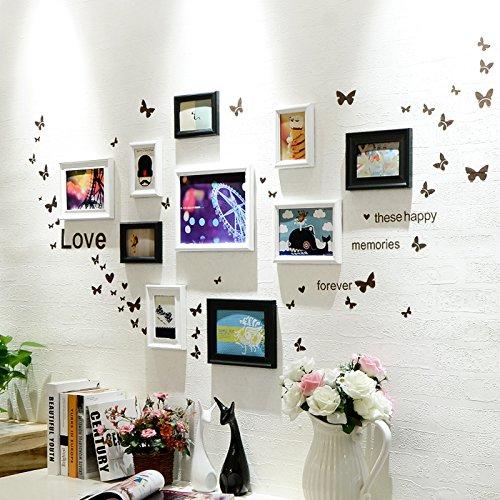 Bilderrahmen* 10 Box Foto wand Schmetterling wand Aufkleber der Europäischen Rahmen Kombination Kinder Zimmer Restaurant foto an der wand, Schwarz und Weiß 1+ in die Herzen der Jugend.