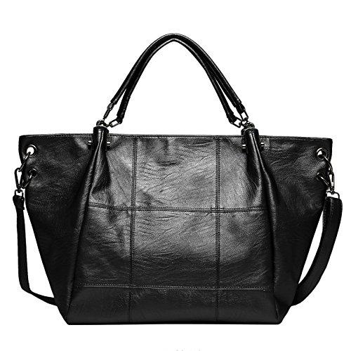 Zahara Fashion Handbags Large Designer Ladies Tote Top Messager Bag Big Hobo Purse Leather Shoulder Satchel for Women Girls Black
