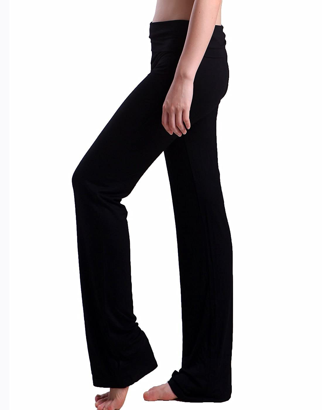 17697587bb HDE Women's Color Block Fold Over Waist Yoga Pants Flare Leg Workout  Leggings at Amazon Women's Clothing store:
