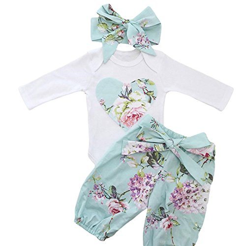 HESHENG 3pcs Newborn Kid Baby Girl Floral Clothes Jumpsuit Romper Bodysuit + Pants + Headband Outfits Set (90/12-18months, picture (Cool Girl Outfits)