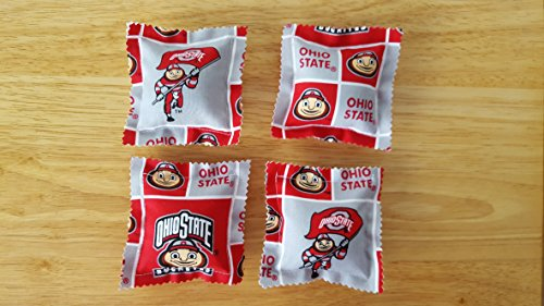 Catnip Ravioli Pillow Toys, Made With Ohio State University Fabric, Buckeyes, Cat, Cats, Kittens, Set of 4