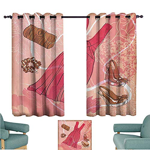 - DONEECKL Kids Room Curtains Heels and Dresses Spring Inspired Floral Abstract Backdrop Pink Dress Shoes Bracelet Light Blocking Drapes with Liner W55 xL39 Pink Brown White