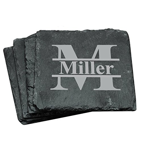Custom Personalized Slate Drink Square Coasters Set of 4 - Monogrammed and Engraved for - Engraved Slate