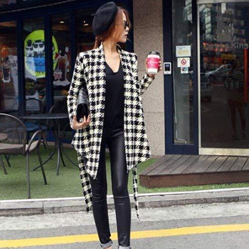 Lunga Classiche Houndstooth Manica Donna Giaccone Cappotto Cintura Outerwear Elegante Autunno Giacca Vintage Primaverile Asimmetrico Inclusa Nero Fashion Casual wtRqRgxEP