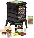 "Worm Factory 360 Worm Composting Bin + Bonus ""What Can Red Wigglers Eat?"" Infographic Refrigerator Magnet - Vermicomposting Container System - Live Worm Farm Starter Kit for Kids & Adults"