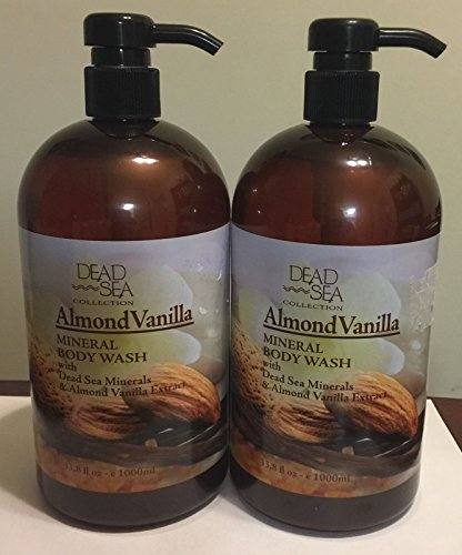 Bath Collection Mineral Salt - Dead Sea Collection Almond Vanilla Mineral Body Wash LARGE 33.8 Oz (2 Pack)