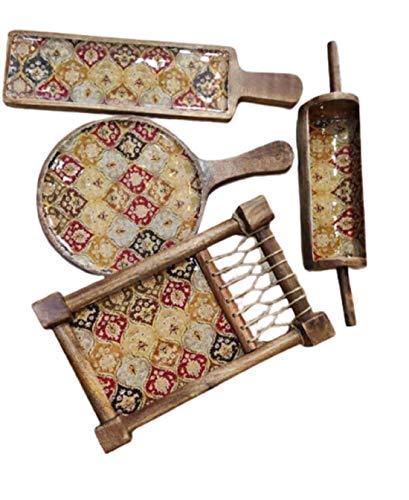 QAREEM HANDICRAFTS Wooden Khaat Plater Set Antique Design Multicolor
