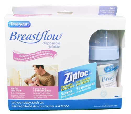 The First Years Breastflow Bottles 4oz 3pk Disposable BPA Fr