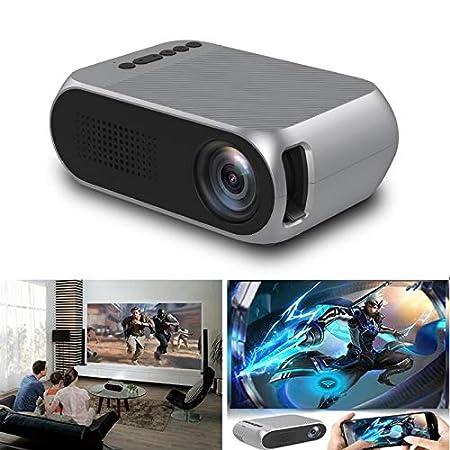 Gizayen Mini Portátil Proyector de Cine en Casa Altavoces Duales Incorporados Soporte HD 1080P HDMI/USB/AV/Micro SD, Portátil de Cine en Casa Office ...