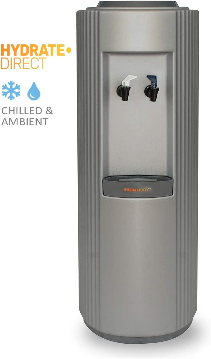 Hydrate Direct Core Bottled Water Cooler Dispenser | Floor Standing Water Machine, Easy to Clean & Maintain. Perfect for Home and Office, Dispenses Ambient & Chilled Water – in Grey/Silver