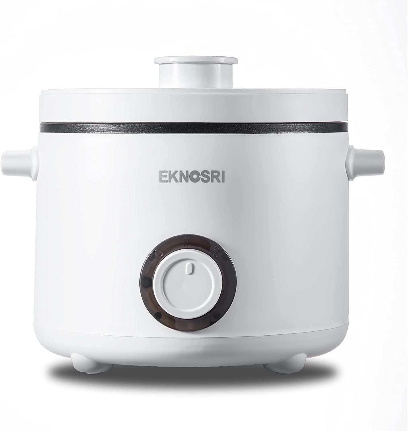 EKNOSRI Electric Hot Pot, Rapid Noodles Cooker Multi-purpose Non-stick Mini Pot with Temperature Control, 1.5L Multifunctional Fast Cooking Pot for Egg, Meat, Vegetable, Oatmeal and Soup - White