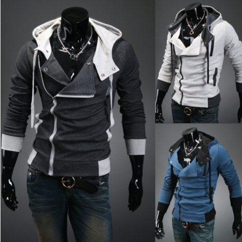 Assassin's Creed 3 Desmond Miles Hoodie Costume Coat Jacket Cosplay Hoody Grey Size M