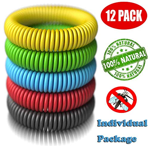 12 Pack Mosquito Repellent Bracelet Band for Kids, Adults & Pets-100% Natural DEET-Free, Non Toxic, Waterproof Safe Travel Anti Insect Bands for Outdoor & Indoor-350Hrs of Protection ()