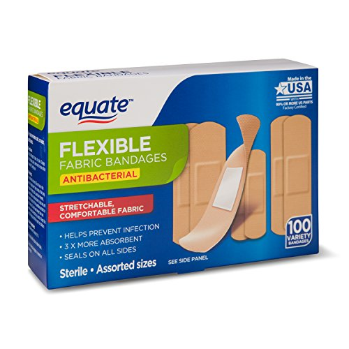 Equate Assorted Antibacterial Flexible Fabric Sterile Bandages, 100 (Wal Mart Medicine)