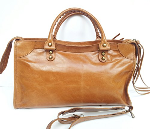 SUPERFLYBAGS Damen handtasche Lux model Barcellona Größe M + Spiegel Made in Italy Cognac
