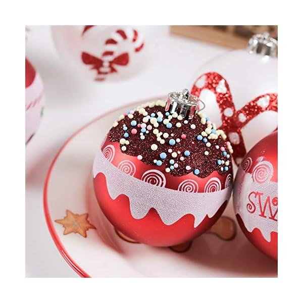 Valery Madelyn Palle di Natale 16 Pezzi 8cm Palline di Natale, Dolci Caramelle Rosse e Bianche Infrangibili Decorazioni per Palle di Natale per Decorazioni per Alberi di Natale 7 spesavip