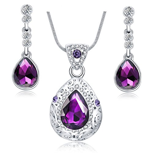 18k White Gold Plated Purple Teardrop Dangle Pendant