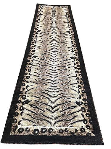 Americana Tiger & Leopard Zebra Animal Skin Print Runner Design 130 (2 Feet X 7 Feet 3 Inch) (Animal Print Runners Rug)