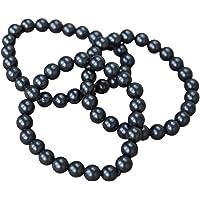 Shungite bracelet with polished beads (8 mm/0,31 in) on elastic band 3 pieces shungite wholesale S246