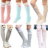 WmcyWell Kids Girls Socks Cartoon Animal Cotton Over Calf Knee High Socks,6a Colors,One Size
