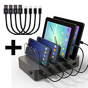 Hercules Multi Device Charging Station Dock & Organizer | All 4 Ports Fast Charge for Android & Tablets | Removable & Detachable Dividers | 4 USB Cables Included (BLACK 4-port)