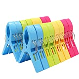 16 Pack Esfun Beach Towel Clips-Jumbo Size for Beach Chair,Pool Lounges Chairs,Cruise - 4 Bright Colors Plastic Towel Clamp Holder Clips,Keep Your Towels,Clothes,Blanket,Quilt from Sliding Down