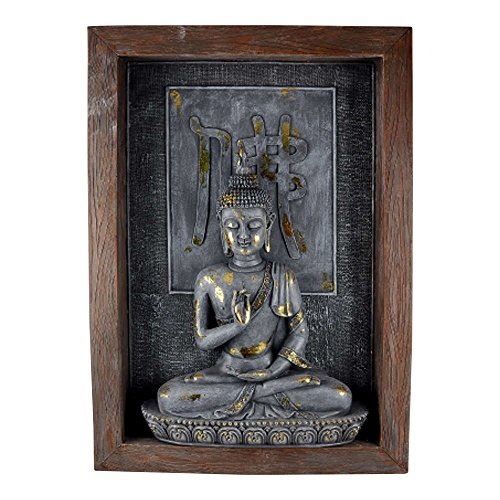 Comfy Hour 6 Polyresin Decorative Buddha Statue, Brown Frame, Gold and Gray Figurine