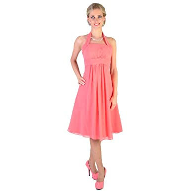 Feminie Halterneck Lace Back Coral Cocktail Prom Bridesmaid Dress UK NEXT DAY DELIVERY (UK8)