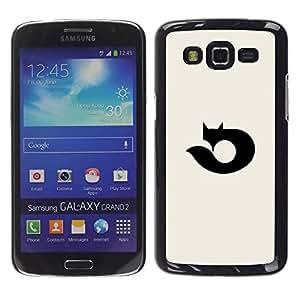 YOYOYO Smartphone Protección Defender Duro Negro Funda Imagen Diseño Carcasa Tapa Case Skin Cover Para Samsung Galaxy Grand 2 SM-G7102 SM-G7105 - zorro negro logotipo oscuro