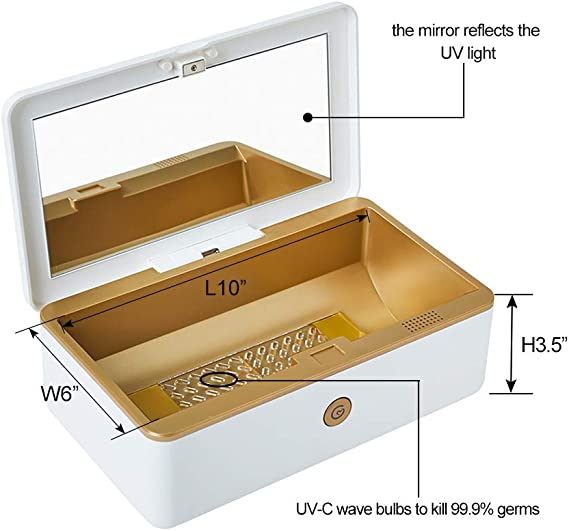 A Goldweather UV Sanitizer Box Multi-Functional USB Portable Disinfection Box for Mobile Phones//Glasses//Underwear