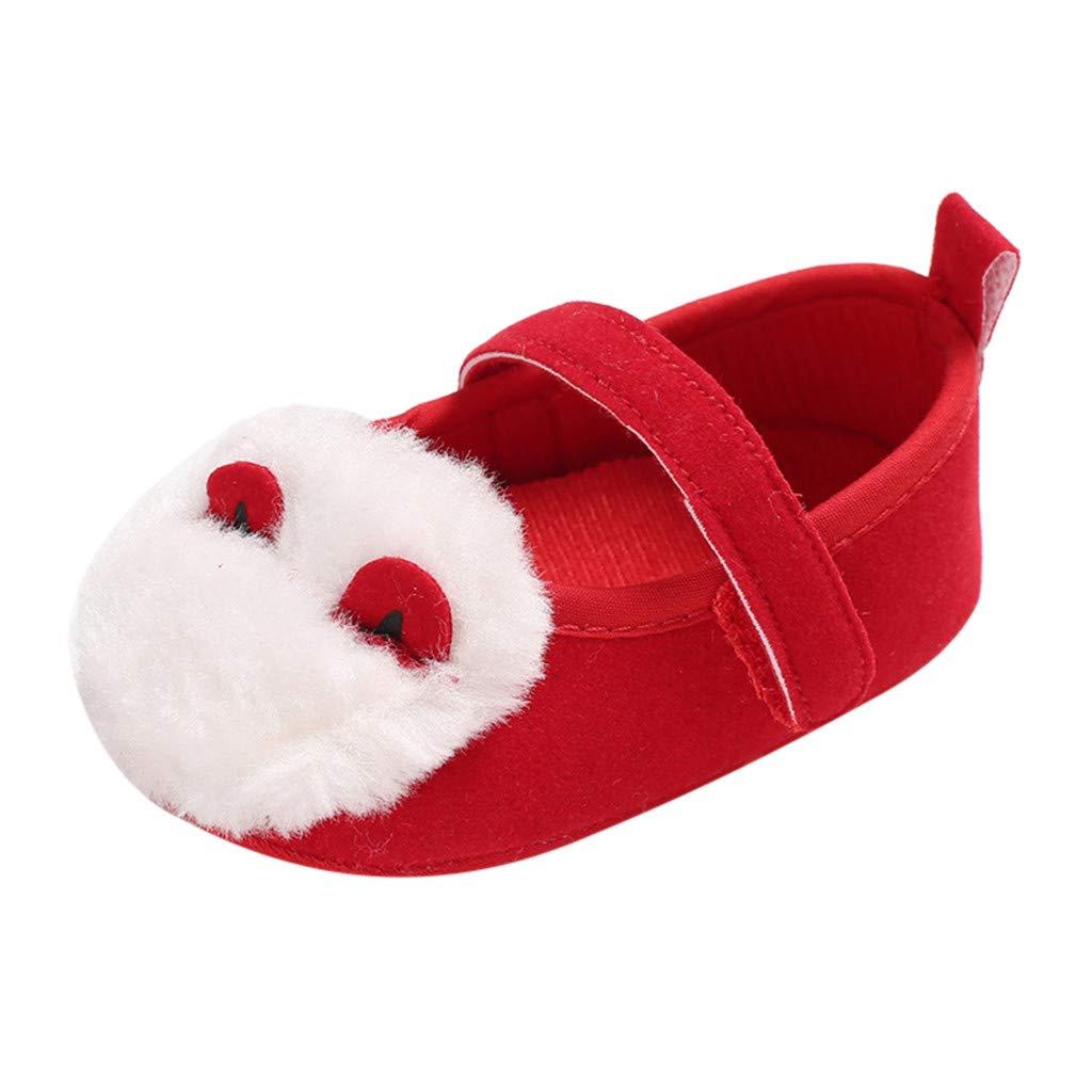 NUWFOR Infant Newborn Baby Girls Soft Sole Plush Ear Cartoon Prewalker Princess Shoes (Red,12~18 Month)