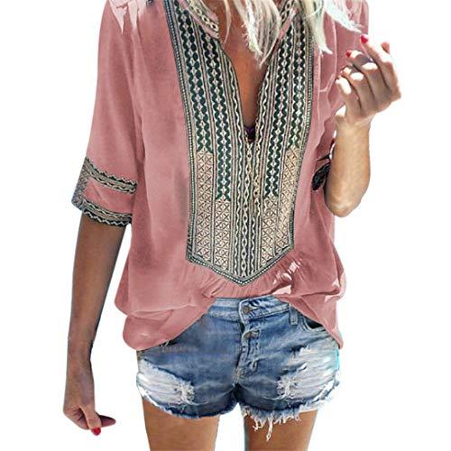 - XVSSAA Womens Stylish Print Half Sleeve Shirt, Ladies Deep V-Neck Print 1/2 Sleeve Loose Tops Blouse T-Shirt Pink