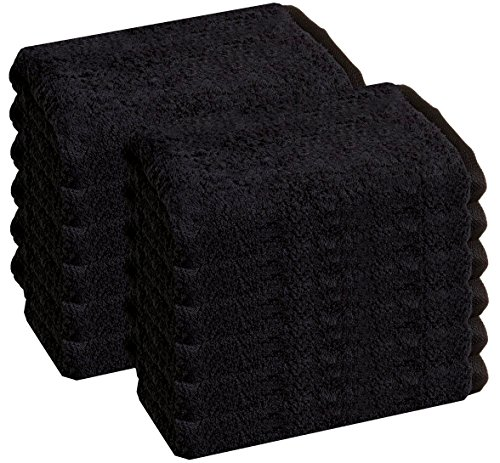 Cotton Salon Towels - Gym Towel - Hand Towel - (12-Pack, Black) - 16 inches x 27 inches - Ringspun-Cotton, Maximum Softness and Absorbency, Easy Care – by HomeLabels by HomeLabels