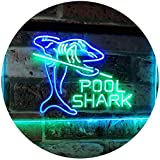 AdvpPro 2C Pool Shark Snooker Pool Room Man Cave Gift Dual Color LED Neon Sign Green & Blue 12'' x 8.5'' st6s32-i2009-gb