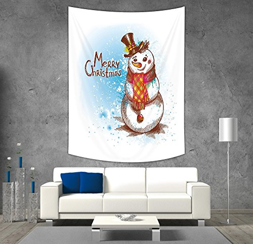 iPrint Polyester Tapestry Wall Hanging,Snowman,Sketch Style Artwork Traditional Figure with Merry Christmas Wish Hat and Scarf,Multicolor,Wall Decor for Bedroom Living Room Dorm (Tapestry Wall Snowman)