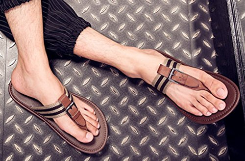 26fc5e0cec95 best IDIFU Men s Casual Open Toe Buckle Striped Flat Flip Flops Beach Seas  Pool Thong Sandals