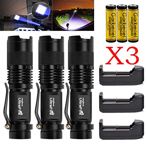 3 X Ultrafire 8000LM MINI Tactical ZOOM T6 LED Flashlight Lamp +Battery+ Charger