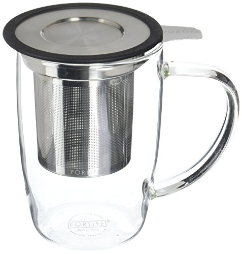 FORLIFE NewLeaf Glass Tea 16-Ounce Mug with Infuser and Lid, Black