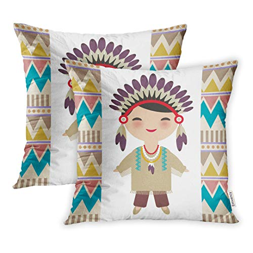 Emvency Set of 2 Throw Pillow Cover Cushion Case Decorative 16 x16 Inch American Indians Kawaii Boy in National Costume Cartoon Children Traditional Pillowcase Two Sides Print Covers
